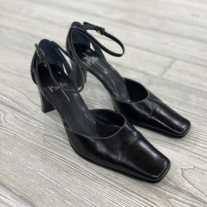 Linea Paolo Black Square Toe Ankle Strap Heels
